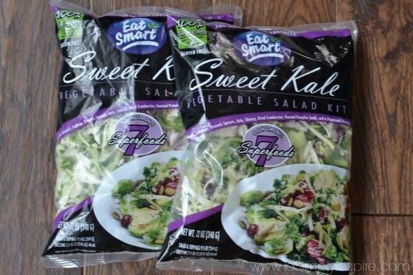 three bags of sweet kale salad