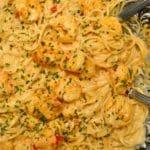 Bang bang shrimp pasta recipe in text overlay
