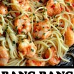 Bang bang shrimp pasta recipe in text overlay