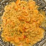 bang bang shrimp with pasta and creamy sauce