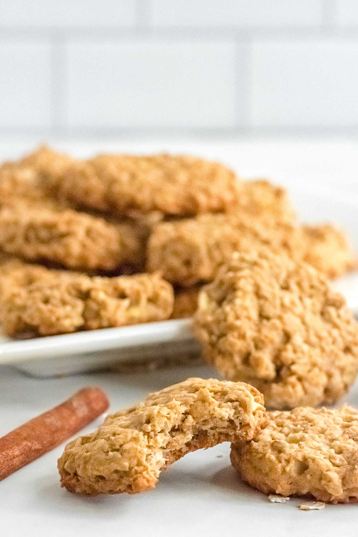 a plate full of apple pie oatmeal cookies