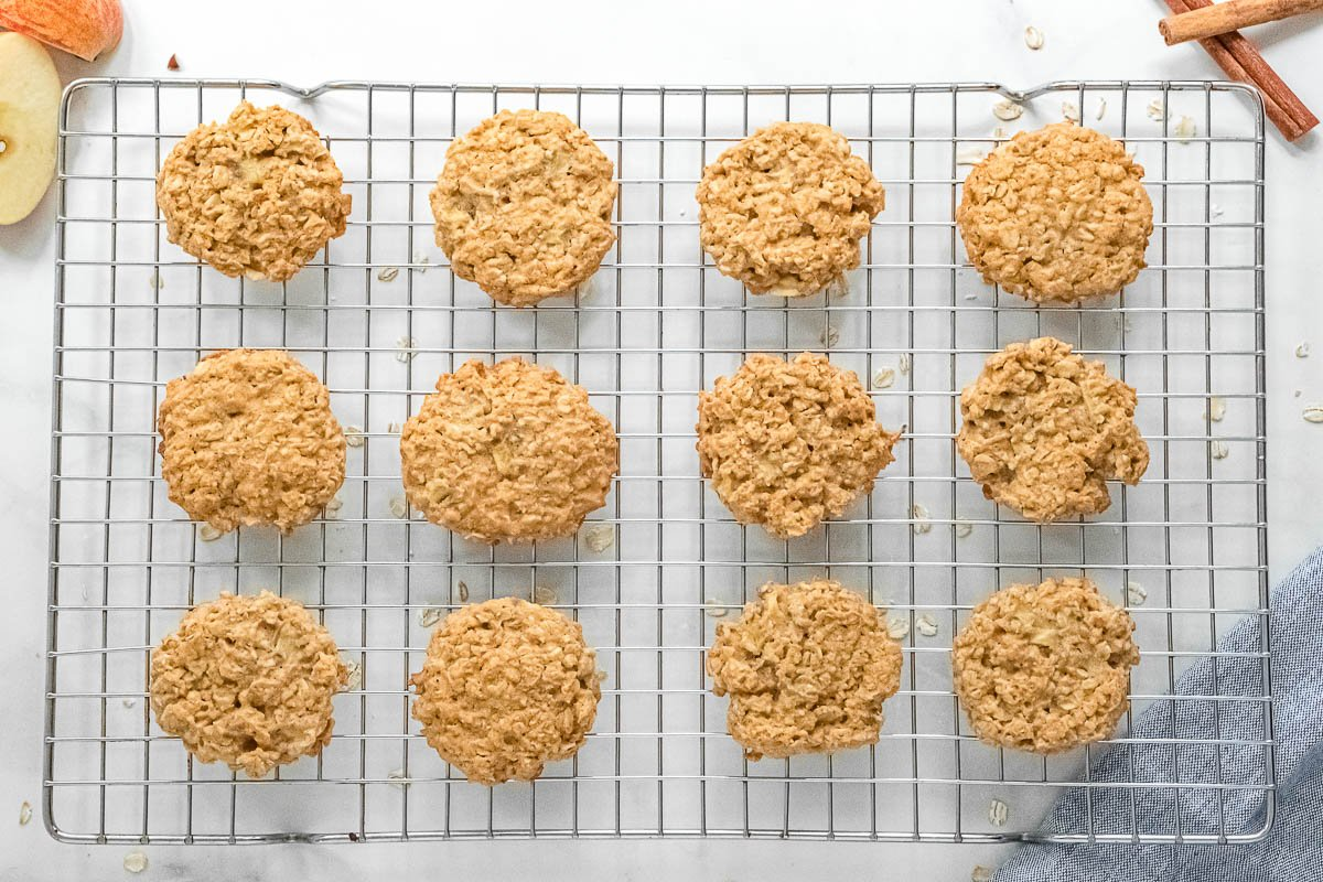 wire rack with 12 apple oatmeal cookies