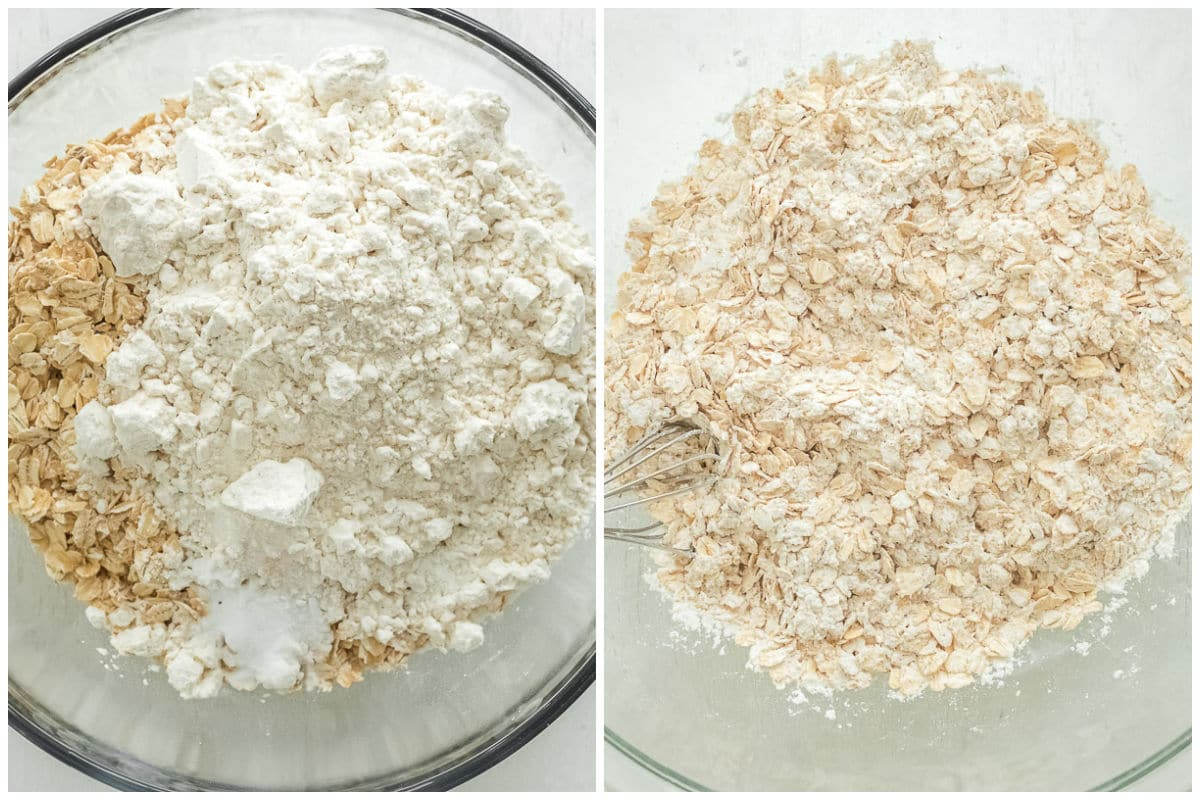 flour and oatmeal mixed in a big glass bowl