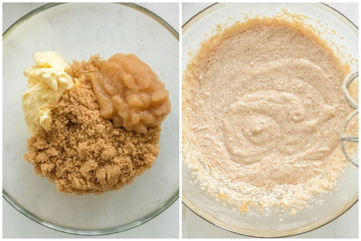 butter, brown sugar and applesauce mixed in a glass bowl