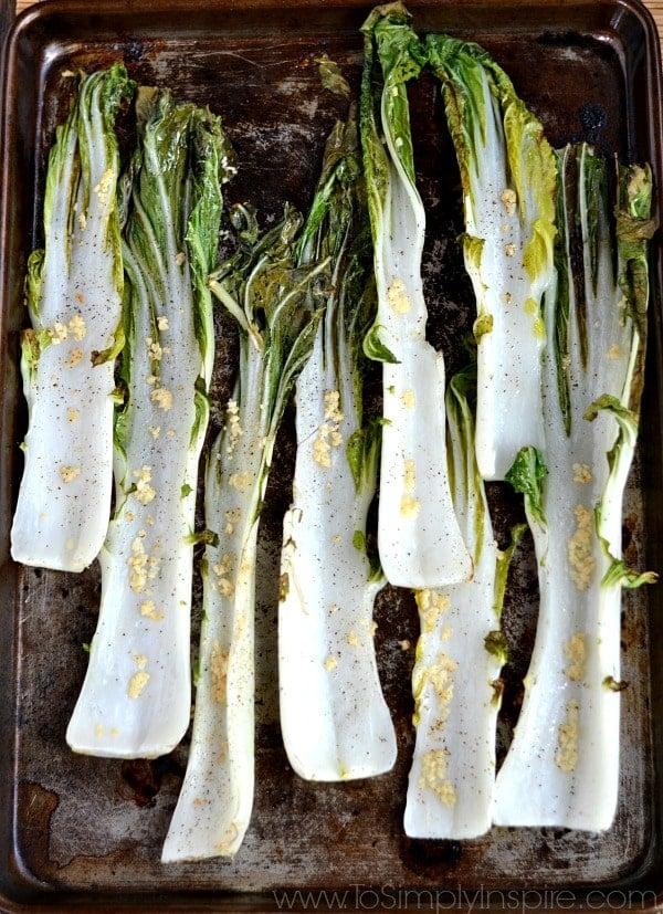 Garlic Roasted Bok Choy recipe on a baking sheet