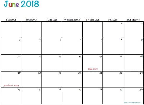 Free Printable 2018 Calendars