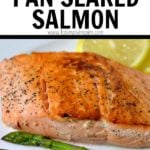 salmon and asparagus on a plate with lemon