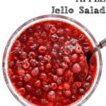 Raspberry Apple Jello Salad in a big glass bowl with white background