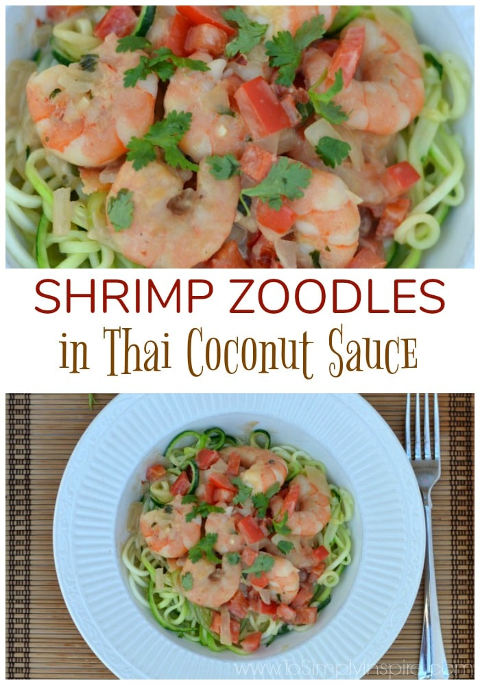 Shrimp Zoodles in Thai Coconut Sauce is a simple, deliciously creamy meal bursting with fresh flavors. Another healthy option that is ready in less than 30 minutes.