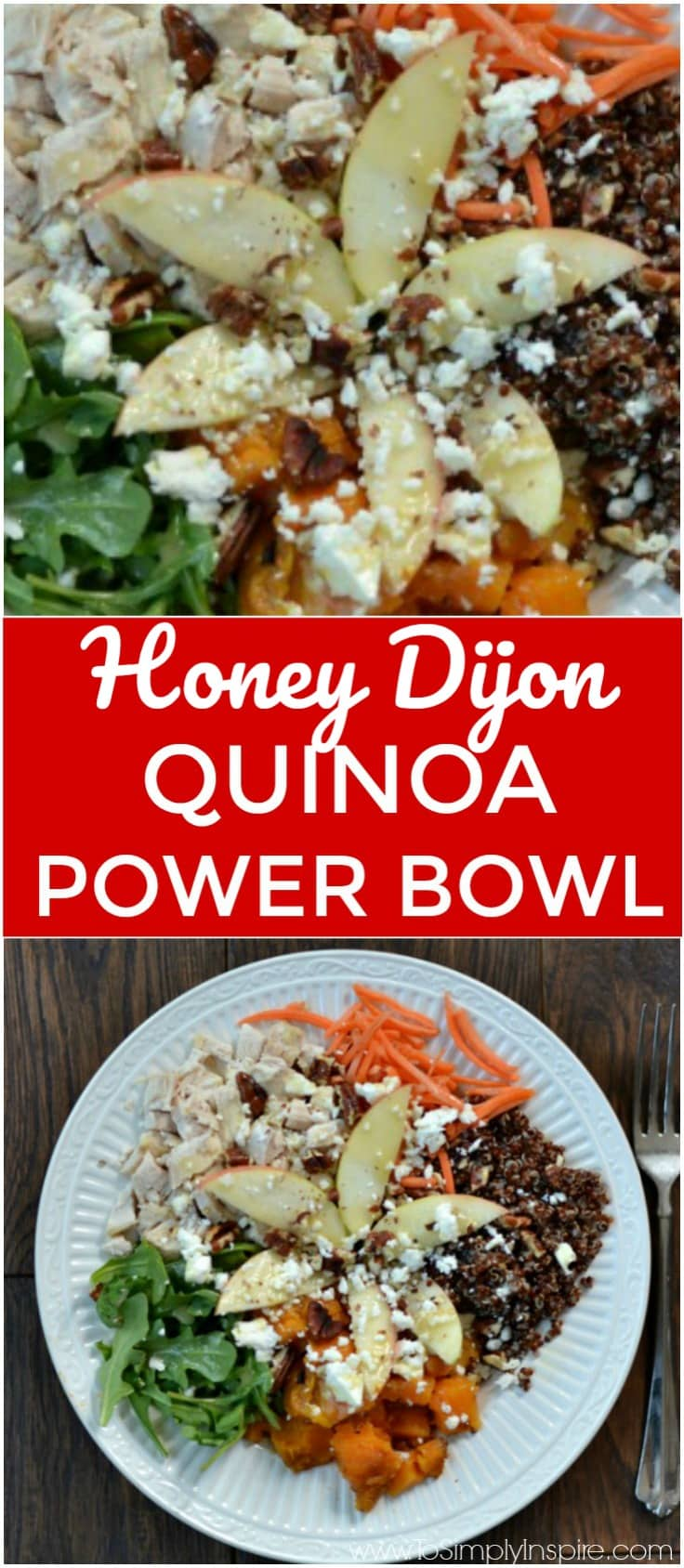 Quinoa Power Bowl - Sweet potatoes, tasty arugula, diced apple, red quinoa, feta, roasted pecans topped with honey dijon vinaigrette.