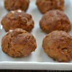eight Sweet Potato Meatballs on a white plate