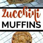 three zucchini muffins on a cooling rack and half a muffin