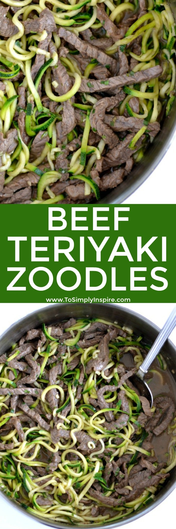Easy beef teriyaki zoodles made with all natural ingredients and ready in less than 30 minutes. Perfect juicy, tender beef in a simple, delicious homemade teriyaki sauce.