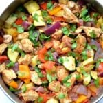 Mexican Chicken Zucchini Skillet recipe in a stainless steel pan