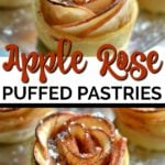 apple rose puffed pastry dessert on a silver tray