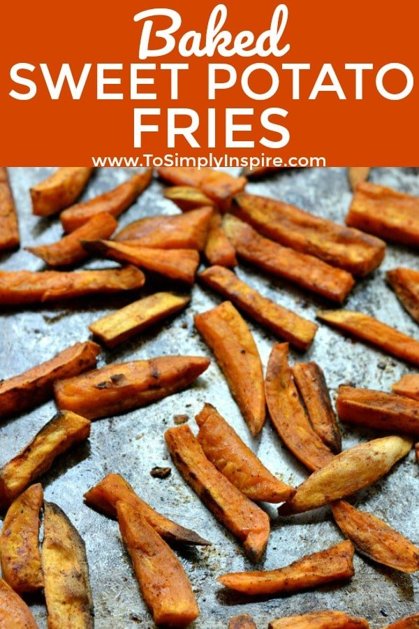 baked sweet potato fries on a baking sheet