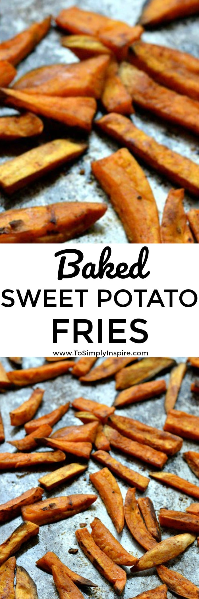 Oven baked sweet potato fries are a wonderful healthy addition to any meal. Seasoned to perfection and lightly crispy.
