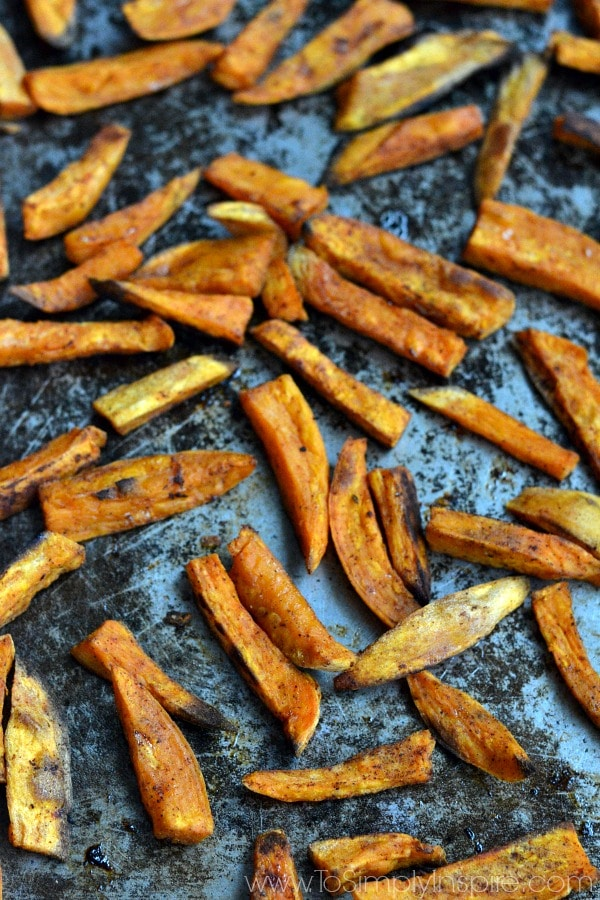 These oven baked sweet potato fries are fabulous. They are lightly seasoned and perfectly crispy on the outside and soft on the inside.