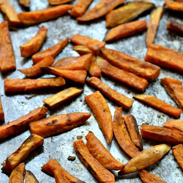 These oven baked sweet potato fries are perfectly seasoned and lightly crispy on the outside and soft on the inside.