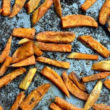 oven baked sweet potato fries on a baking sheet