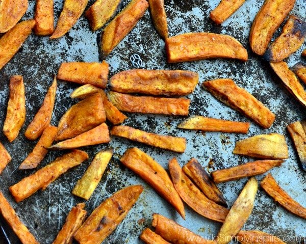 Oven baked sweet potato fries are amazing. They are lightly crisped and perfectly seasoned.