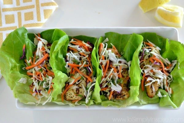 TLemon Herb Chicken Lettuce Wraps with Citrus Slaw