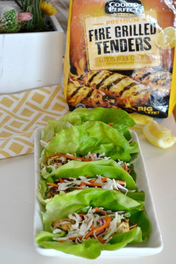 Chicken Lettuce Wraps with Citrus Slaw using Cooked Perfect Lemon Herb Fire Grilled Tenders