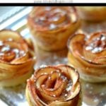 apple rose puffed pastries on a silver tray