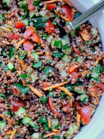 a closeup of quinoa tabouli salad