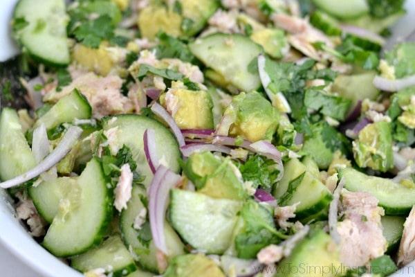 Closeup of Avocado Tuna Salad - To Simply Inspire