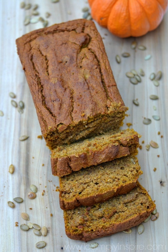 pumpkin bread loaf with 3 slices cut