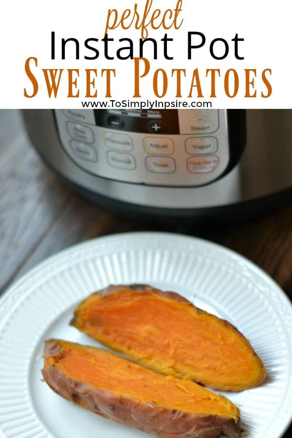 Sweet potatoes on a plate beside an Instant Pot