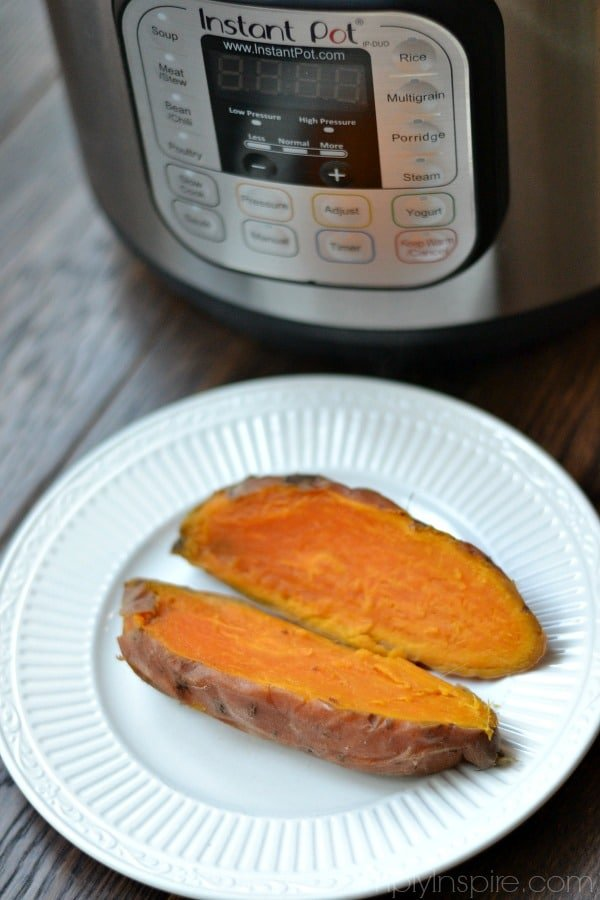 Sweet potato on a plate with an Instant Pot