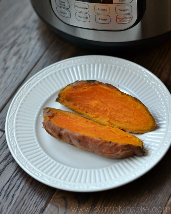 Sweet potato on a white plate