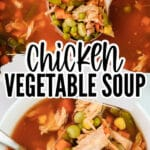 a pot of chicken vegetable coup and white bowl full of soup