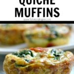 Spinach quiche muffin with text overlay