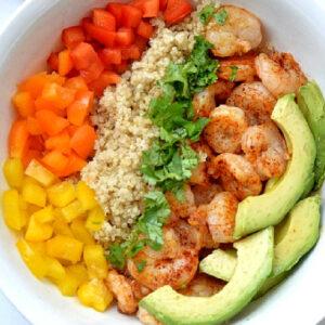 garlic shrimp and quinoa bowl