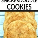 3 snickerdoodle cookies with text overlay