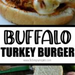 buffalo turkey burger on a bun with a slice of melted cheese
