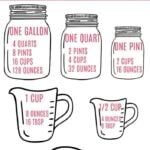 Measurement conversions chart with mason jars and measuring cups