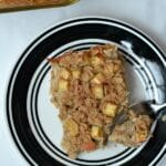 slice of apple cinnamon baked oatmeal on a plate