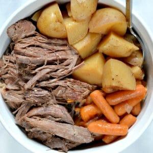 pot roast in a white bowl
