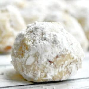 closeup of a snowball cookie covered in powdered sugar