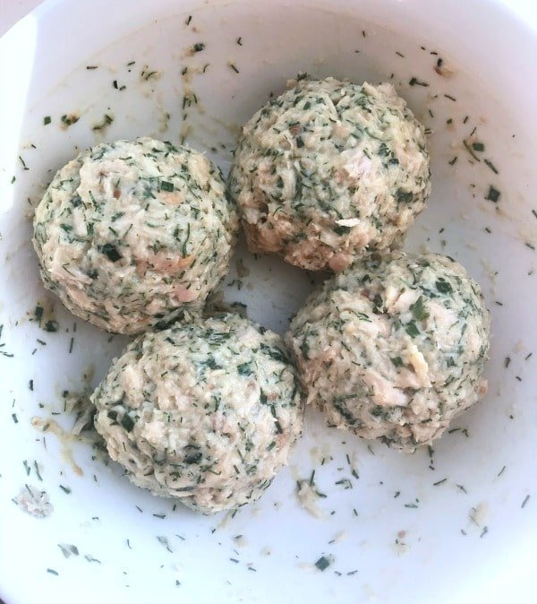 tuna patties mixture rolled into balls