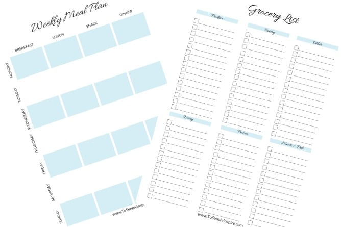 weekly meal plan and grocery list printable sheet in light blue and white
