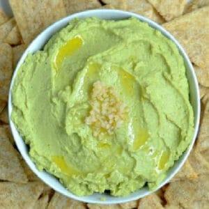 closeup of avocado hummus