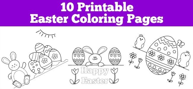 Easter coloring page with a bunny and eggs with text overlay saying 10 printable Easter coloring pages