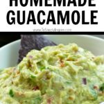 guacamole in a white bowl with text overlay