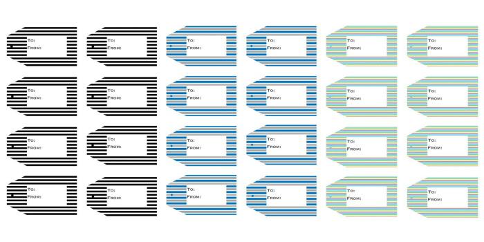 four rows of printable gift tags in black stripes, blue strips and green stripes