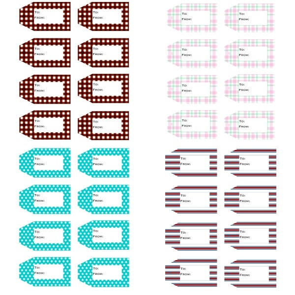 4 sets of 8 different printable gift tags